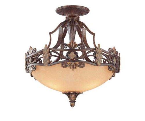 UPC 822920204357, Savoy House 6-0155-3-76 Semi-Flush with Cream Textured Shades, Florencian Bronze Finish