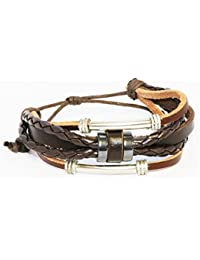 "Braided Men and Women Leather Rope Bracelets Multilayer Ethnic Charm Bracelet Adjustable 6"" to 11"""