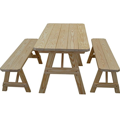 Kunkle Holdings LLC Traditional Straight Leg Pine Picnic Table Set 6' - 6 Foot Straight Bench