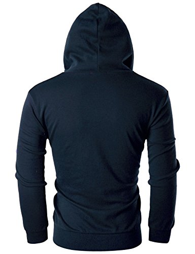 Ohoo Mens Slim Fit Long Sleeve Lightweight Zip-up Hoodie with Kanga Pocket/DCF002-NAVY-XS