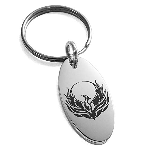 (Tioneer Stainless Steel Greek Mythology Phoenix Symbol Engraved Small Oval Charm Keychain Keyring)
