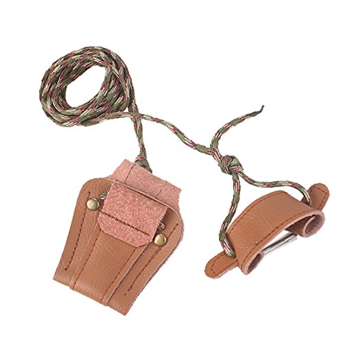 Krayney Archery Recurve Bow Stringer Longbow Stringer Traditional Leather Tool (dark brown)