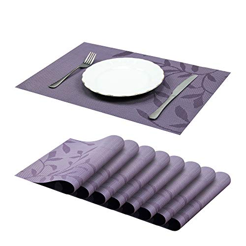 Jujin Placemats Set of 8 Non-Slip Washable PVC Heat Resistant Table Mats for Dining Table Purple (Set Dining Purple)