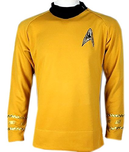 Star Trek Captain Kirk Spock Classic Shirt Costume Uniform TOS (XL, Gold)