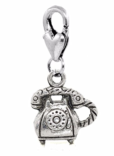 Telephone Retro Rotary Dial Corded Phone Lobster Clip Dangle Charm for Bracelets Crafting Key Chain Bracelet Necklace Jewelry Accessories Pendants