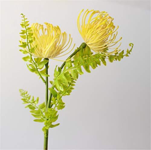 Skyseen 5pcs Artificial Pincushion Flower Fake Leucospermum Simulation Tropical Protea Cynaroides Plant Yellow