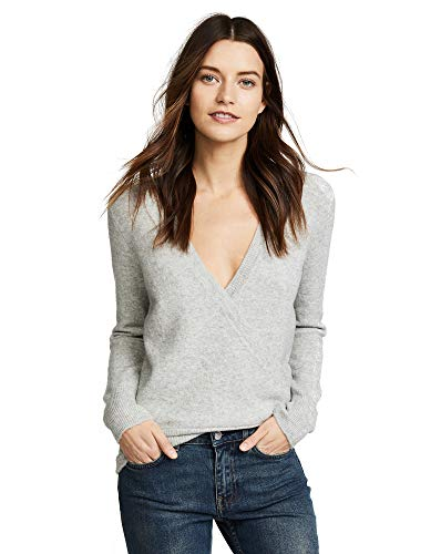 Madewell Wrap-Front Pullover Sweater in Coziest Yarn (Gray, S) from Madewell