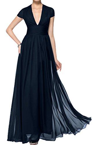 ivyd ressing Mujer corta aermel V de pico largo línea A Prom vestido Fiesta Vestido para vestido de noche Azul Tinta