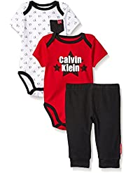 Calvin Klein Baby Boys' 3 Piece Short Sleeve Bodysuit and Pant Set