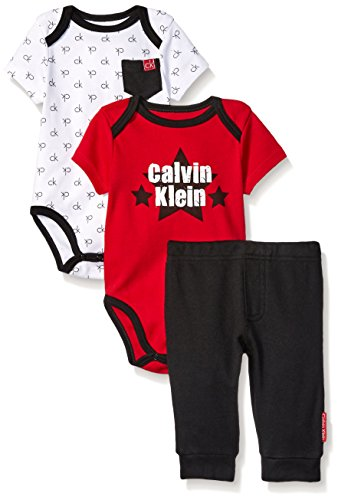 Calvin Klein Baby Boys' 3 Piece Bodysuit and Pant Set, Red/Black, 12 Months
