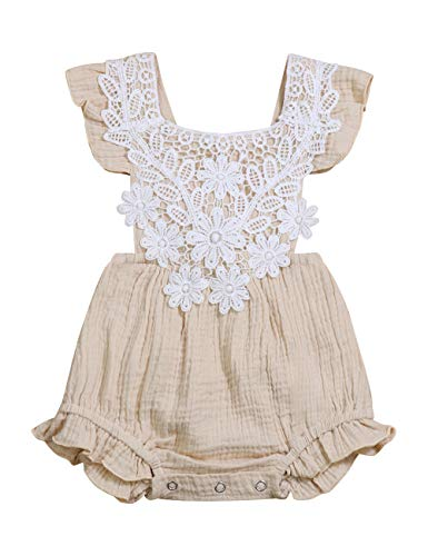 - Newborn Baby Girl Ruffle Romper Lace Sleeveless Bodysuits Bowknot Jumpsuit Summer Outfit 6-12 Months