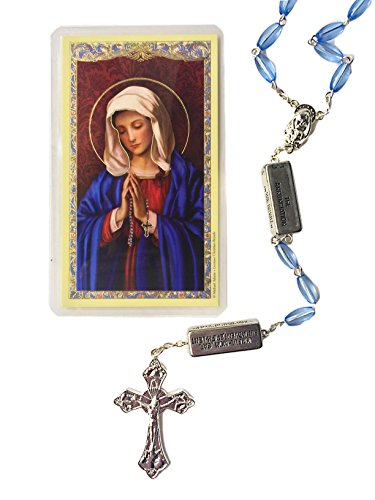 Elysian Gift Shop Catholic Sapphire Light Blue Mystery Beads Rosary 7mm Crystal Beads The Rosary Mysteries are Engraved on The Divider -