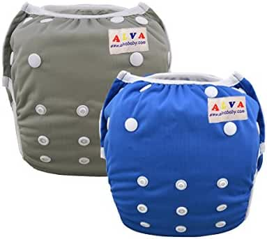 Alva Baby Swim Diapers Boys Reuseable Adjustable One Size 0-24 mo. 10-40lbs 2pcs Baby Gifts