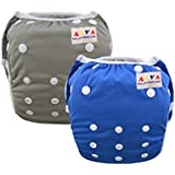 ALVABABY Baby Swim Diapers Boys Reuseable Adjustable One Size 0-24 mo. 10-40lbs 2pcs Baby Gifts SWB25-29