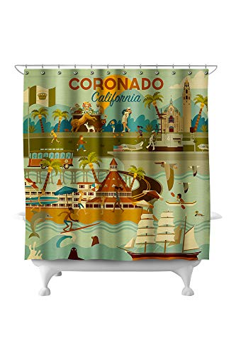 Lantern Press Coronado, California - Geometric 93852 (74x74 Polyester Shower Curtain)