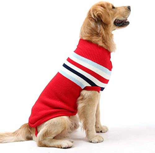 Full Length Size XSMALL Pet Sweater Hand Knit Striped Dog Sweater Nordic Stripe Blue and Red