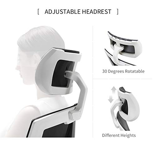 Hbada Ergonomic Office Chair - High-Back Desk Chair Racing Style with Lumbar Support - Height Adjustable Seat,Headrest- Breathable Mesh Back - Soft Foam Seat Cushion, White by Hbada (Image #5)