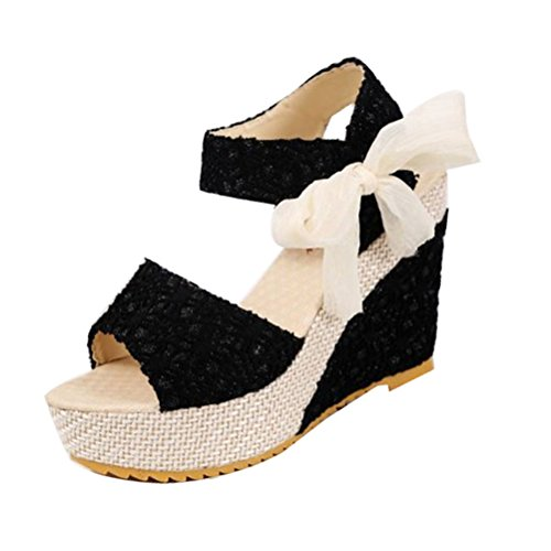 Donalworld Girl Platform Shoes Peep Fish Head High Heel Strappy Sandals Black oDNLjoxq