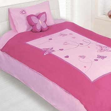 Diaidi Home Textile, Doudous Letter Butterfly Duvet Cover Set Kids Pink  Butterfly Duvet Cover Set