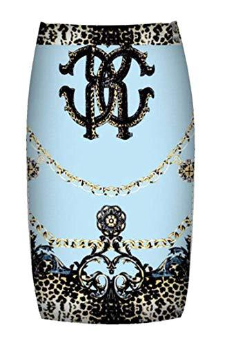 Donna color Gonna Blue A Xxs Longuette Sky Size Sottile Girls Vita Alta Dress Stampata Aderente Home Da 6x7PE1