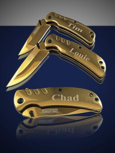 Eternity Engraving 6 Engraved Pocket Knifes, 6 Folding Pocket Knives Gift Set Personalized for Men and Women, Customized Knife Gift (Gold) by Eternity Engraving (Image #4)