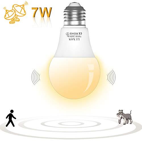 Motion Sensor Light Bulb Night Lights 7W Radar Motion Detector Dusk to Dawn LED Light Bulb E26 Base Soft White 2700K Outdoor Auto On/Off by LUXON