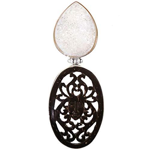 - 3 1/8'' Artisan DRUZY Drusy Goddess Coconut Shell 925 Sterling Silver Pendant YE-3267