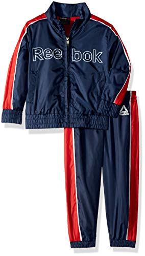 Reebok Boys' Toddler Nylon Retro Windsuit Zip Up Jacket and Jog Pant, Bright Navy, 2T