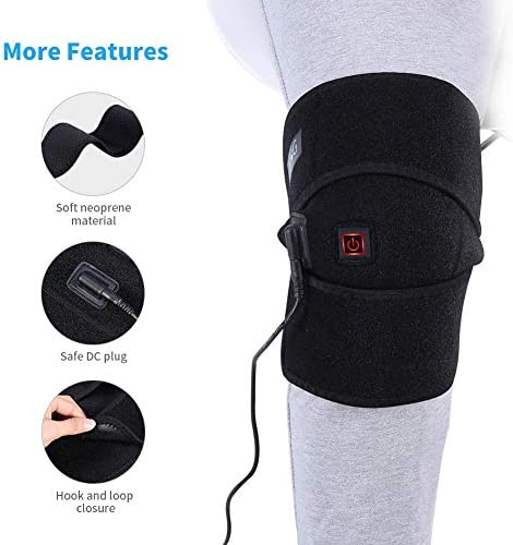 SunshineFace Beheizbare Knieorthese Verstellbares Wickel-Knieheizkissen für Knieverletzungen Wiederherstellung von Krämpfen Arthritis mit (2 M) Direktladekabel Und USB-Kabel