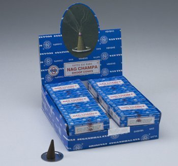 Incense Cone, Nag Champa By Sai Baba - 12 Cones, 12 Pack - incensecentral.us