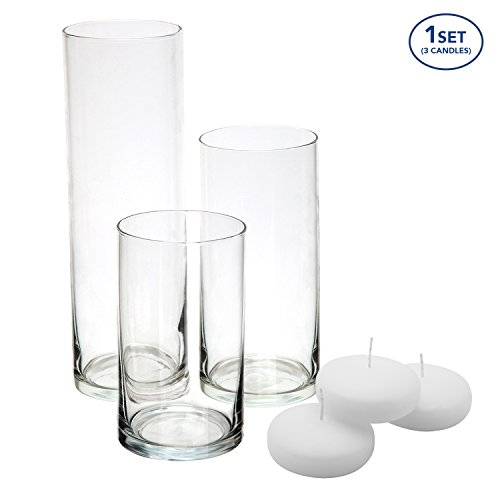 - Royal Imports Glass Cylinder Vases - SET OF 3 - Including 3 FLOATING DISC CANDLES, Decorative Centerpieces Home Wedding