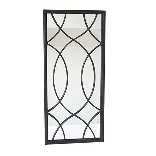 (Paris Loft Rectangle Window Pane Metal Wall Mirror 30''H, Black)