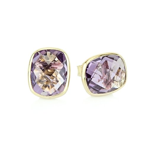 14k Yellow Gold Stud Earrings With Cushion Cut Amethyst - Gemstone ()