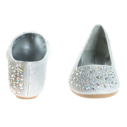Dress Link Embellished Metallic Bead Sparkle Womens Flat C Forever Ballet Crystal silver awdq00p