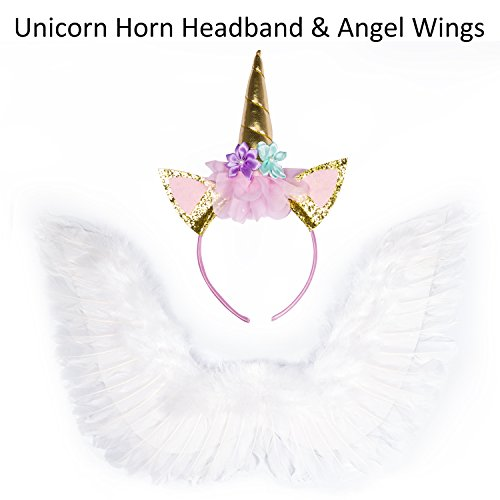 ECBASKET Gold Glitter Unicorn Horn Ear Headband Flower +White Costume Angle Wings Halloween Costumes For Kids Girls (10 Unique Halloween Costumes)