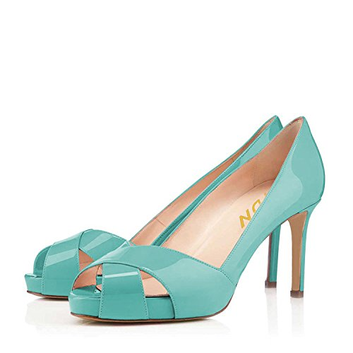 Peep Stilettos Summer YDN Turquoise for Party on Platform Toe High Heel Slip Pumps Shoes Women 4qzZq5