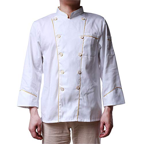 Meoliny White Knotted Buttons Chef Coat Easy Care Twill Chef Jacket Double Breasted Long Sleeve Chef Jacket for Unisex