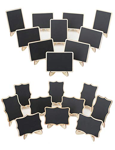 (YiTai 20 Pack Wood Mini Chalkboards Signs with Easel Stand, Place Cards, Two Styles Chalkboards Blackboard for Weddings, Message Board Signs, Food Signs and Special Event)