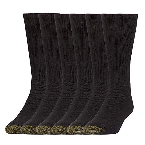 Gold Toe Men's Harrington Crew 6 Pack, Black, Shoe Size: 6-12.5
