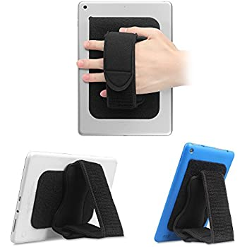 """Fintie Universal Tablet Hand Strap Holder - [Dual Stand Supports] Detachable Padded Hook & Loop Fastening Handle Grip with Adhesive Patch for iPad, Samsung, Trek 2 HD and All 7-10"""" Tablets, Black"""