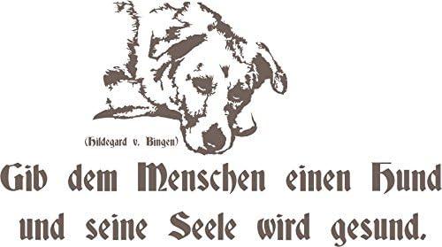 Adhesivo decorativo para pared con texto - encima de la gente de un perro y su alma se enfermo. - con texto - perro - Hildegard de Bingen, madera, M070 Schwarz, 800