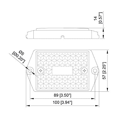 [ALL STAR TRUCK PARTS] Square Red/Amber 3-LED Marker Light Reflectorized Lens Surface Mount, 2-4/5