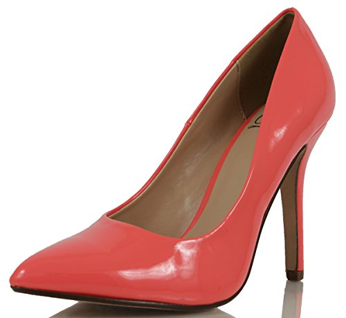 Delicious Womens Date Pointed Toe Single Sole High Heel Salmon 10 M US
