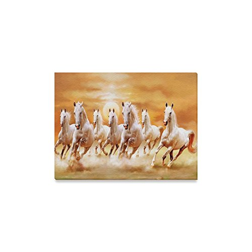 Decor Horse Running (Famous Wall Art Cool Running Horses Moon Pattern Home Decoration Canvas Prints- 16x12 Inch(One Side))