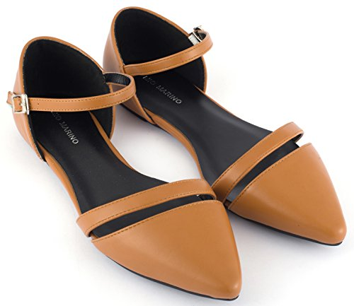 (Mio Marino D'Orsay Pointed Toe Flats - Womens Ankle Strap Dress Shoes (Luggage, 7.5))