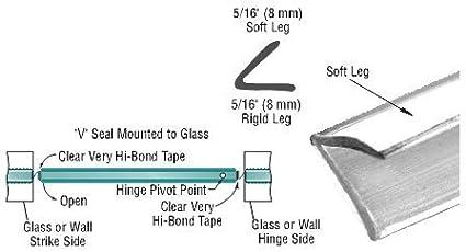 95 Long CRL Translucent Vinyl Edge V Seal for 1//4 Maximum Gap With Pre-Applied Tape