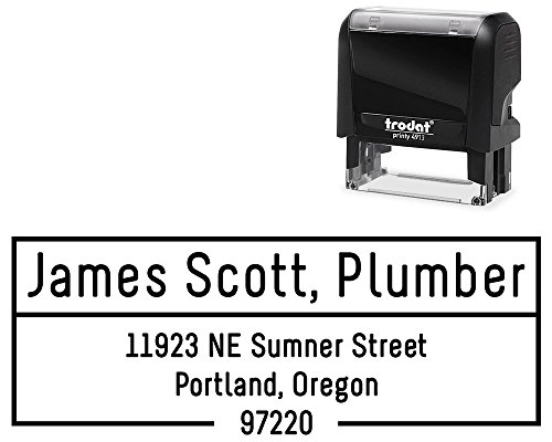 Customized Stamper, Address Stamp Business Style, 3 Lines. Self Inking Professional Font. Variety of 5 Ink Colors, Size Approx. 7/8