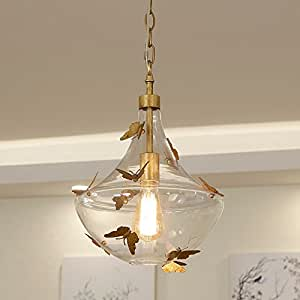 Goldleaf Butterfly Glass Ball Pendant Light Vintage Rust Iron Glass Pendant Light For Kitchen Island, Bedroom With Gold Iron Butterfly Ceiling Pendant Chandelier For Dinning Room Home Decoration Light
