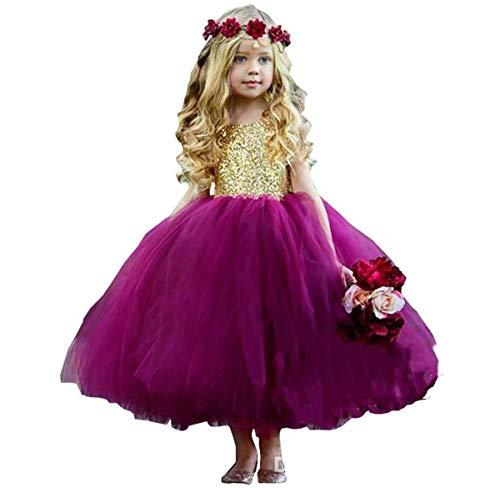 Lwedress Flower Girl Dress Purple for Wedding Prom Dresses Long for Kids 116]()