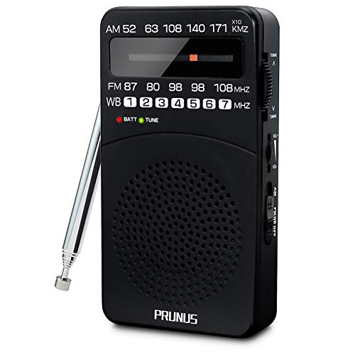 PRUNUS J-166 Small AM FM Radio Portable Transistor Radio Battery Operated Pocket Radio with NOAA Weather Band, Tuning Light, Back Clip, Excellent Reception for Outdoor & Indoor & Emergencies